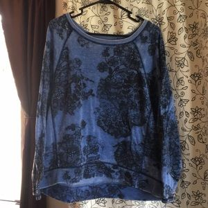 Never worn DKNY fleece sweater with lace pattern